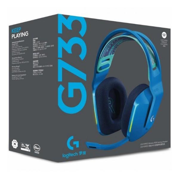 Audífono Logitech G733 LightSpeed - Headset inalámbrico RGB azul