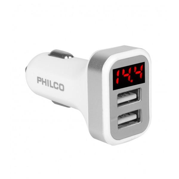 CARGADOR AUTO DOBLE USB CON PANT. LED