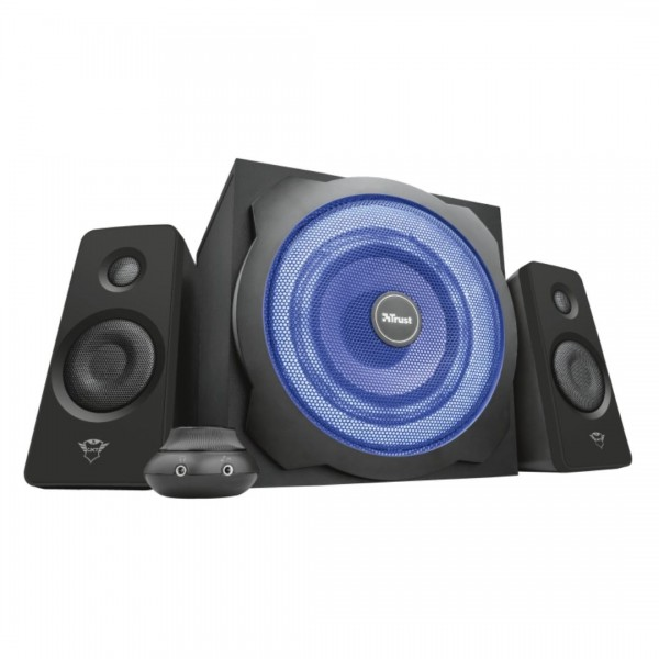 Parlante Gamer Trust GXT 628 Tytan 2.1 Illuminated Speaker Set, 2.1 con 120W, Subwoofer Led