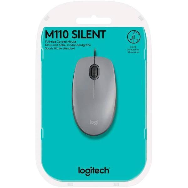 Mouse Alámbrico Logitech M110 Silent Gris