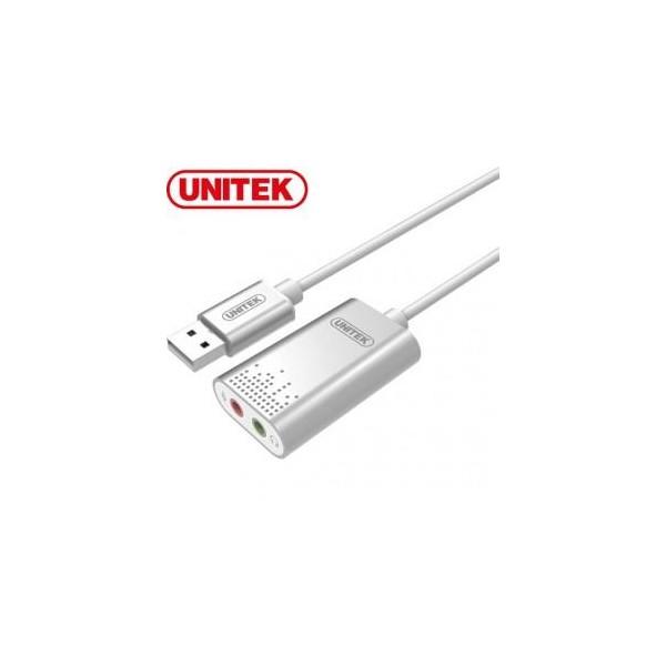Adaptador USB a audio y microfono unitek